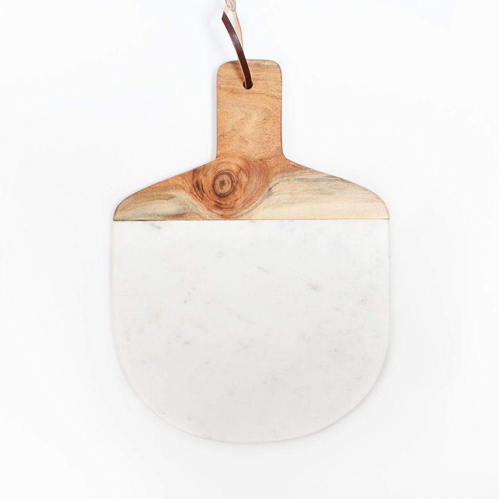 Kiwano Oval White Marble Cutting and Serving Board  with Mango Wood