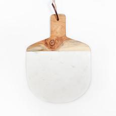 Kiwano Ovaal Wit Marmer Snij- en Serveerplank met Mango Hout