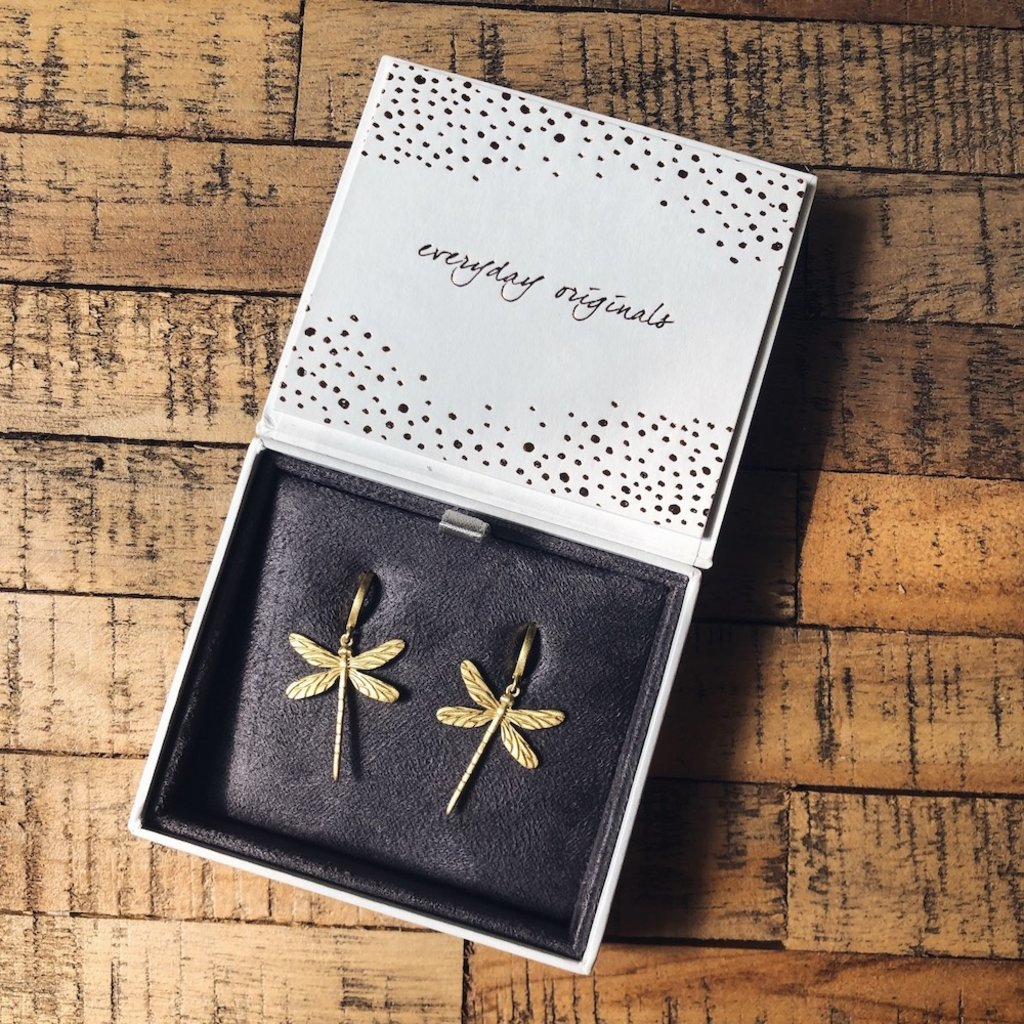 By Lauren Amsterdam Dragonfly Earrings Silver Gold Coated