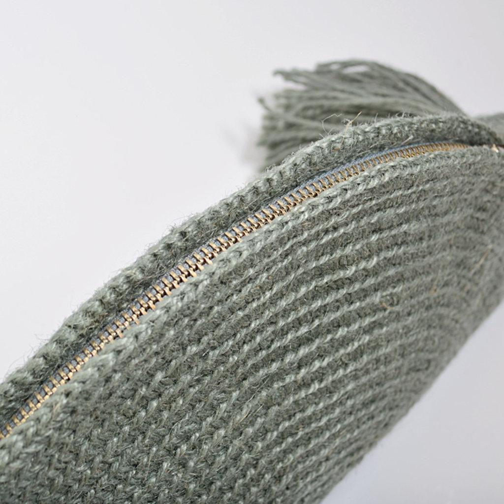 Kiwano Half moon Clutch Bag With Tassel | Sea Green