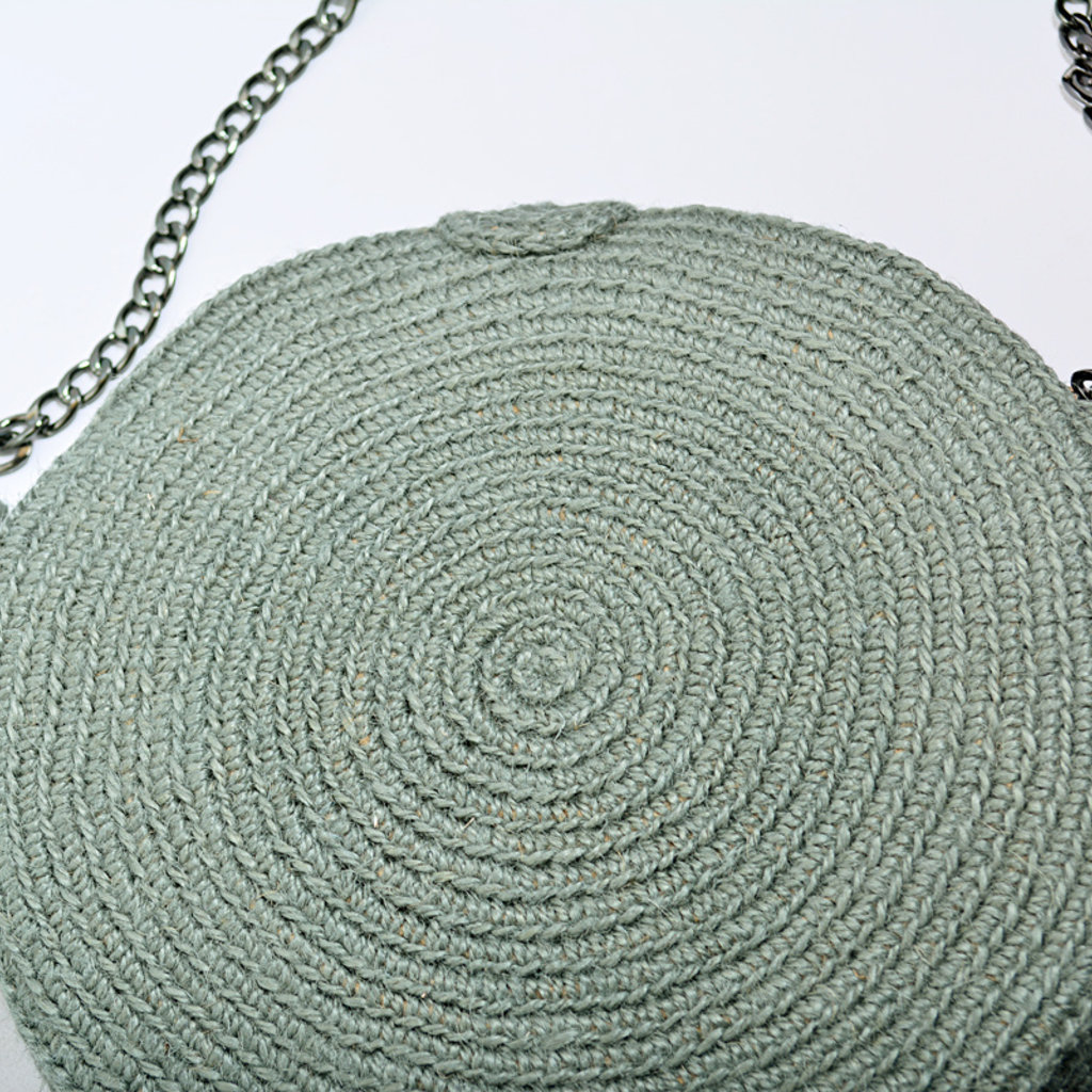 Kiwano Round Shoulder Bag With Tassel  | Sea Green