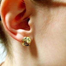 Marc West Marc West Earrings Silver Gold Coated  'Planets'