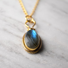 Biell Design Necklace Silver Gold Plated With Labradorite Gemstone