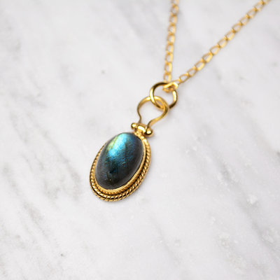 Biell Design Necklace Silver Gold Plated With Labradorite