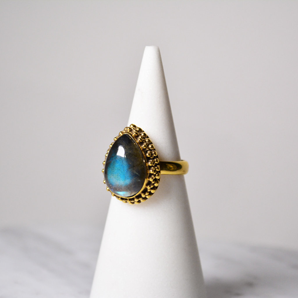 Biell Design Ring Silver Gold Plated and Labradorite Gemstone