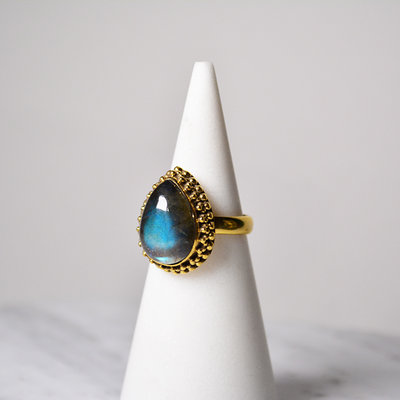 Biell Design Ring Silver Gold Plated and Labradorite