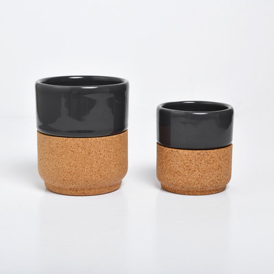 Alma Gemea Cork Ceramic Cups Dark Gray