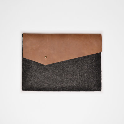 Kiwano Brown Leather Felt Ipad Sleeve | Clutch