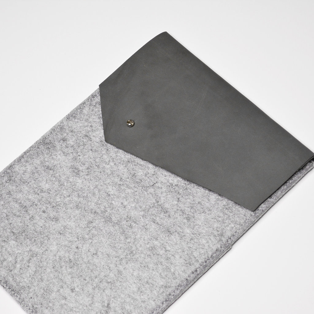 Kiwano Leer Vilt iPad Sleeve | Nubuck Grijs