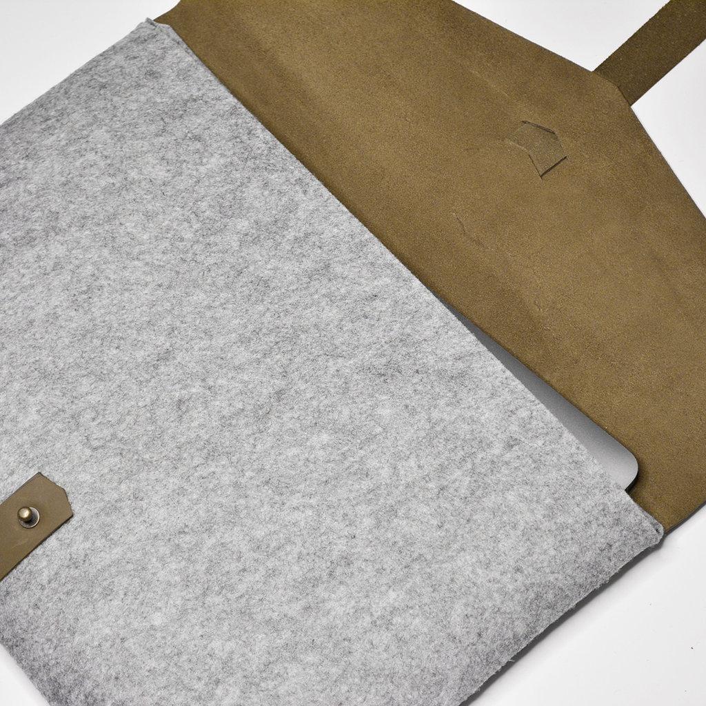 Kiwano Leger Groen Leer & Vilt Laptop Tas / Clutch | L
