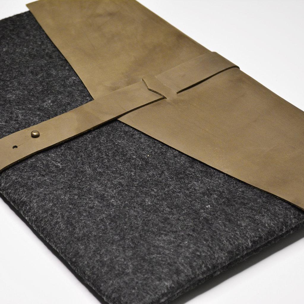 Kiwano Leger Groen Leer & Vilt Laptop Tas / Clutch  | M