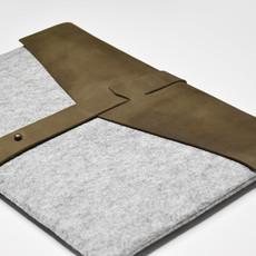 Kiwano Legergroen Leer & Vilt Laptop Tas / Clutch  | M