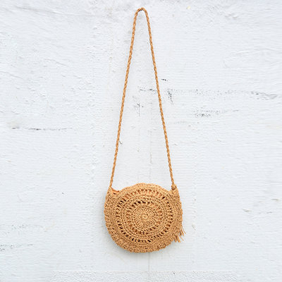 Kiwano Round Rattan Shoulder Bag - Medium