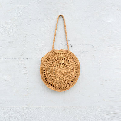 Kiwano Round Rattan Beach Bag - Large