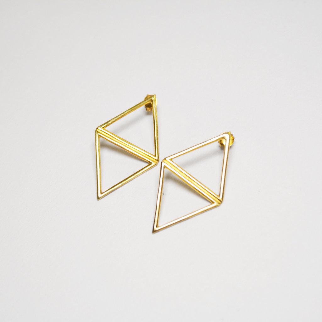 Biell Design Geometrische Gold Plated Oorbellen