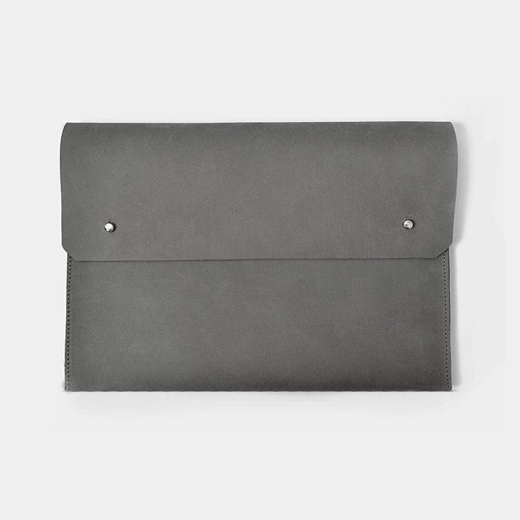 "Kiwano ""Mono"" Grijs Leren Clutch, iPad Sleeve"