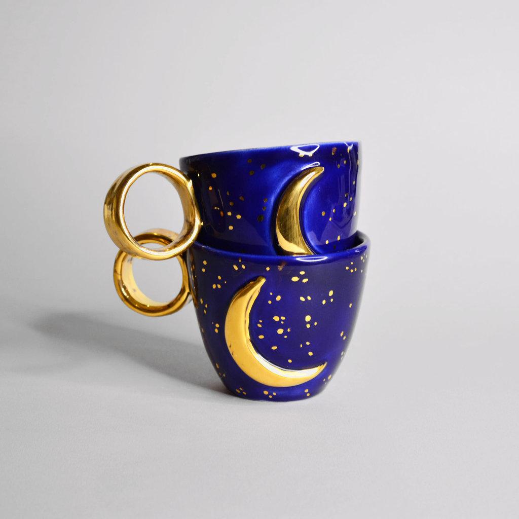 Kiwano Blauw Maan Mokje met 24 krt Goud Luster   Medium