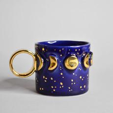 Kiwano Blauw Maanstanden Mokje met 24 krt Goud Luster   Medium