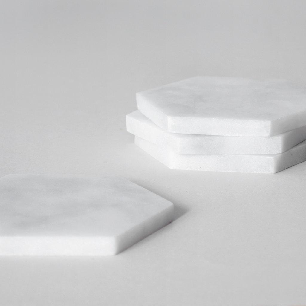 Kiwano Bianco White Hexagon Onderzetters Set of 4