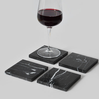Kiwano Black Marble Square Coasters Set