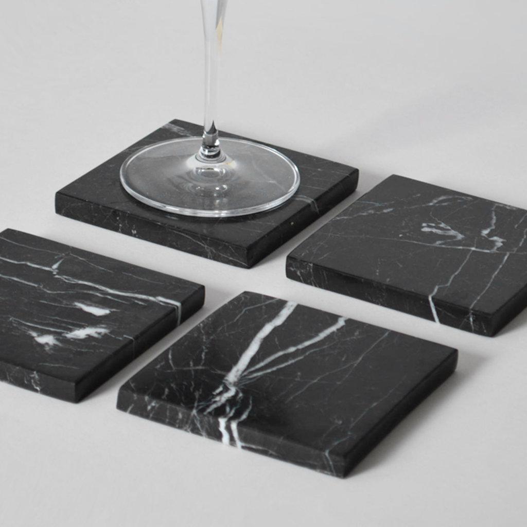 Kiwano Zwart Marmer Vierkant Onderzetters Set van 4