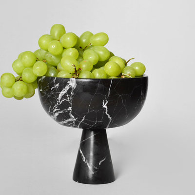 Kiwano Medium Black Marble Bowl