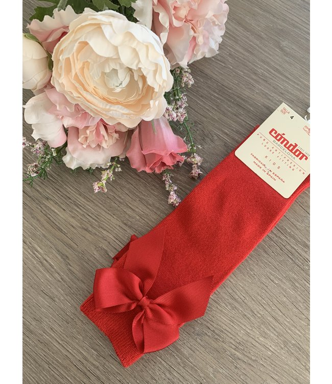 CONDOR  CONDOR | Knee sock with bow RED