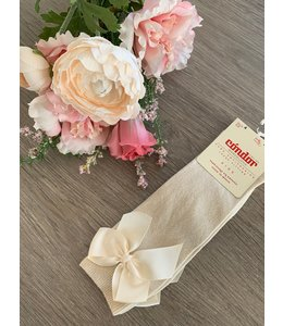 CONDOR  Knee socks with bow LINEN