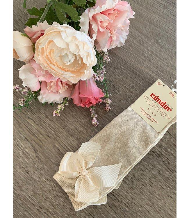 CONDOR  CONDOR | Knee socks with bow LINEN