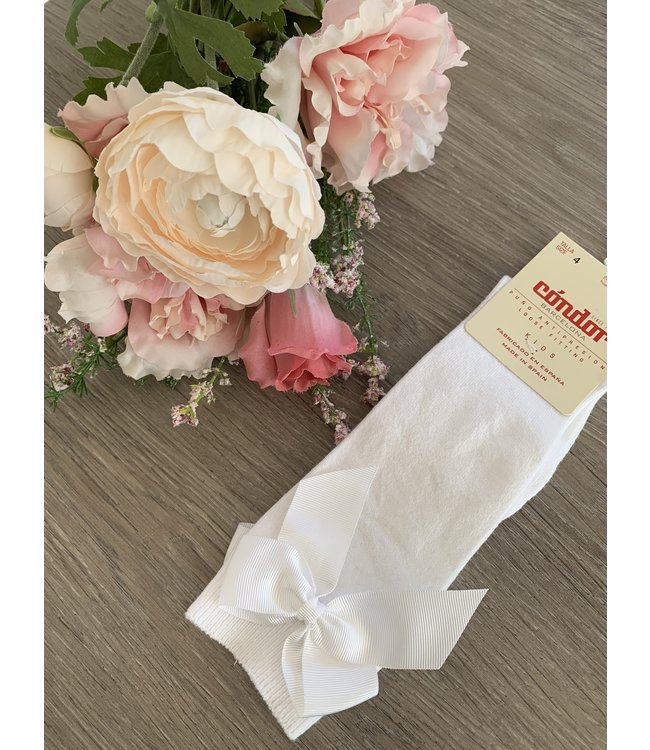 CONDOR  CONDOR   Knee socks with bow WHITE