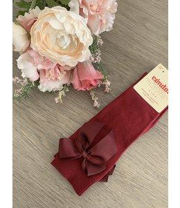 CONDOR  Knee socks with bow Bordeaux
