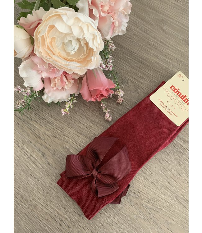 CONDOR  CONDOR | Knee socks with bow Bordeaux