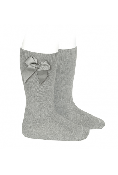 Knee socks with bow Gray