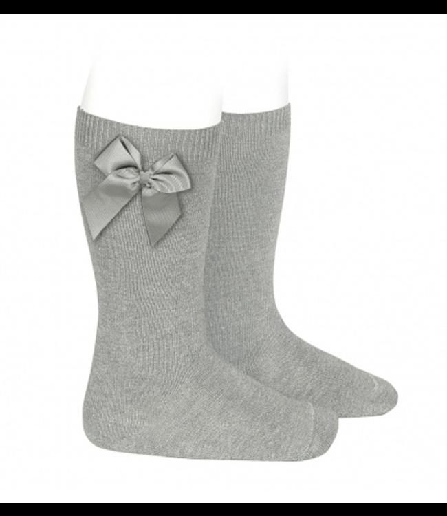 CONDOR  CONDOR | Knee socks with bow Gray