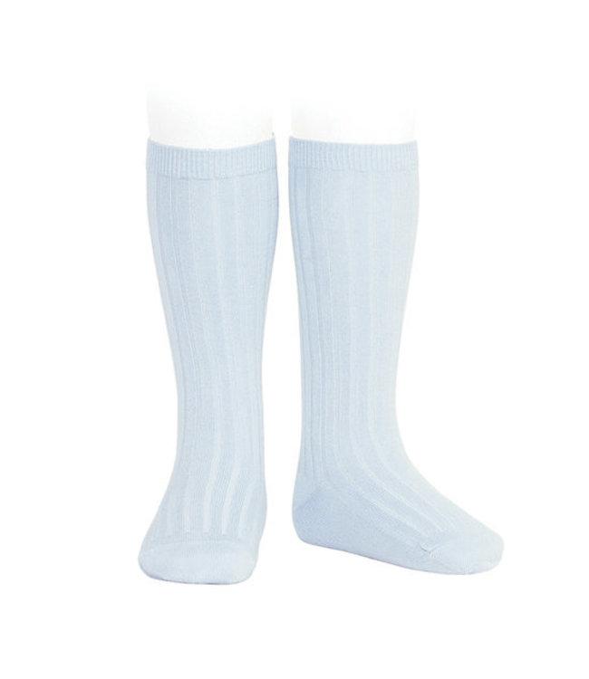 CONDOR  Condor | Knee socks with rib Baby blue