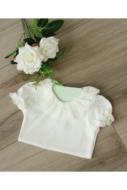 White body with double collar and short sleeves