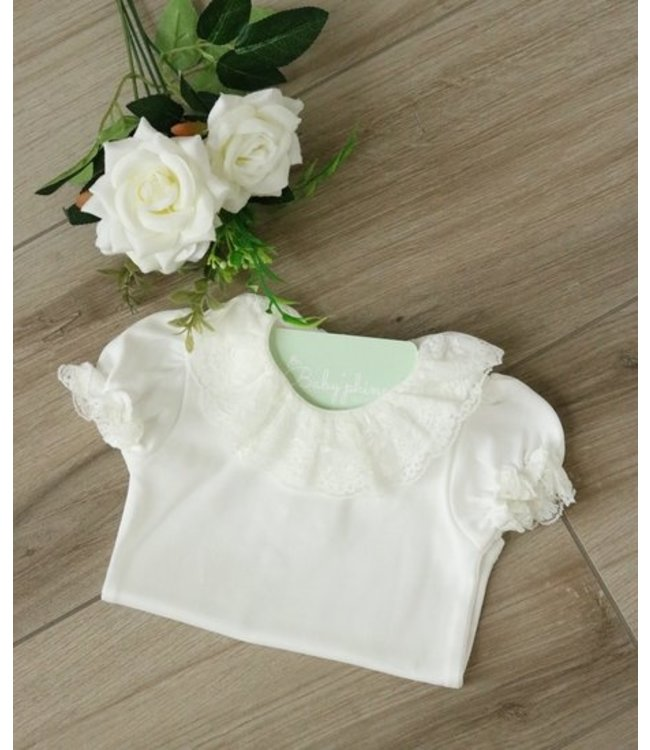 LAIVICAR White body with double collar and short sleeves