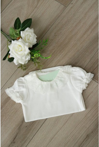 Ivory body with full lace collar and short sleeves