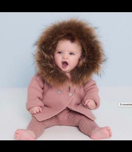 BOBBLE BABIES Prachtig vestje met natuurlijke pels - Oudroze