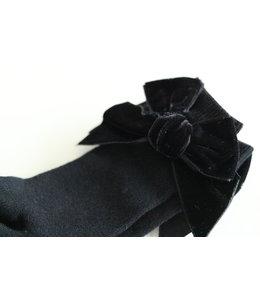 CONDOR  Kniekous met velvet strik Zwart