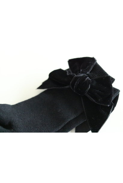 Knee socks with velvet bow Black