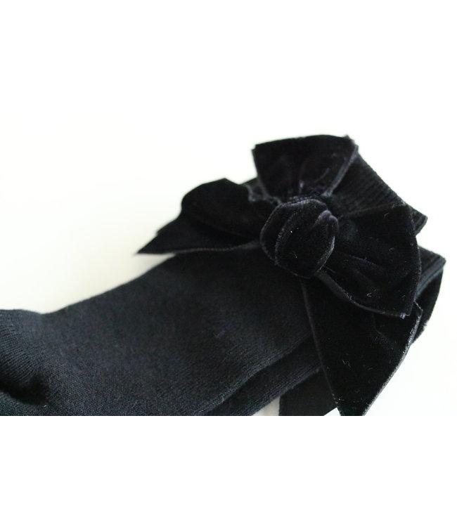 CONDOR  CONDOR | Knee socks with velvet bow Black