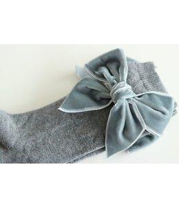 CONDOR  Knee socks with velvet bow Gray