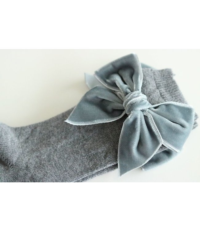 CONDOR  CONDOR | Knee socks with velvet bow Gray
