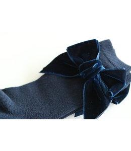 CONDOR  Knee socks with velvet bow NAVY BLUE