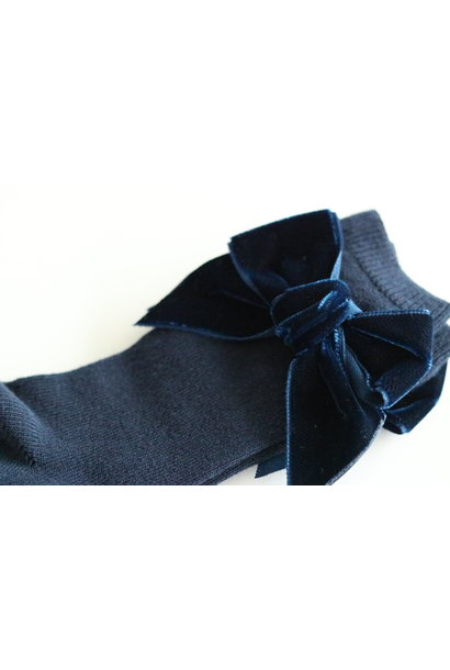 Kniekous met velvet strik Marineblauw