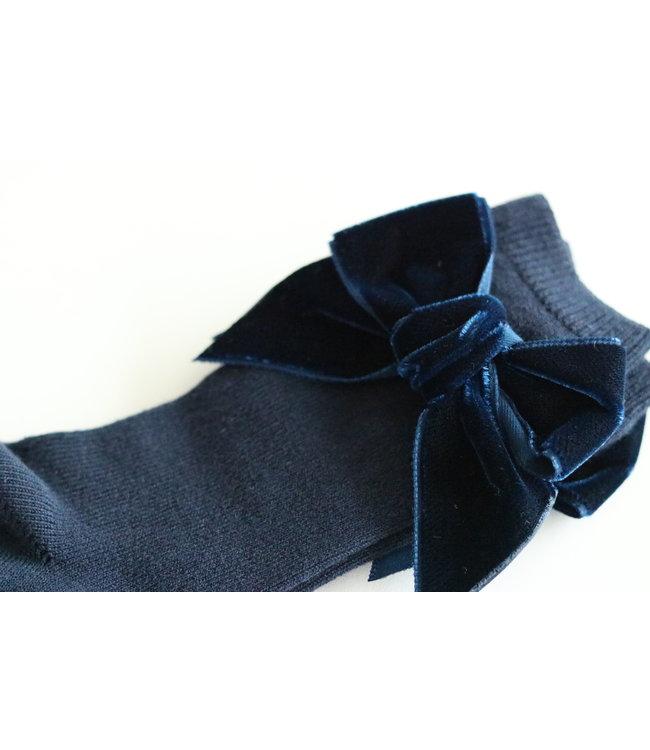 CONDOR  CONDOR | Kniekous met velvet strik Marineblauw