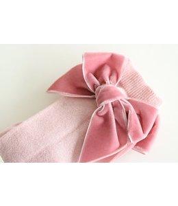 CONDOR  Kniekous met velvet strik Roze