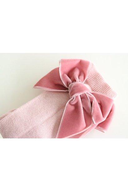 Kniekous met velvet strik Roze