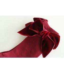 CONDOR  Knee socks with velvet bow Bordeaux